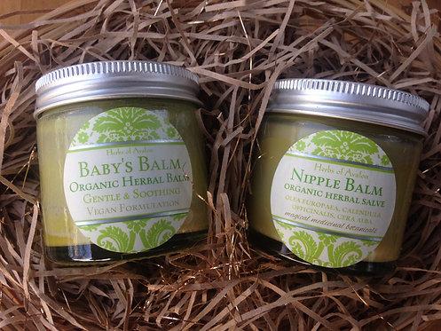 Gift Basket for Mum & Baby - Organic Nipple Salve & Baby's Balm