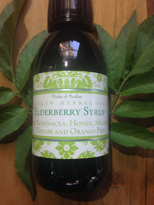 WILD ELDERBERRY SYRUP - Organic Honey, Echinacea, Mullein, Thyme & Ginger 150ml