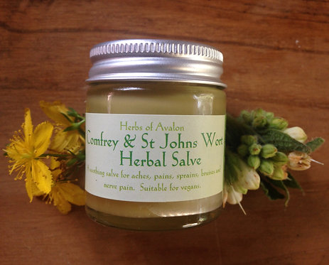 COMFREY & ST JOHN'S WORT HERBAL SALVE - Organic ointment - soothes aches & pains