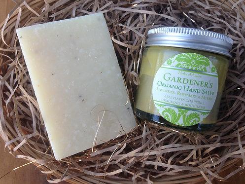 Gardener's Gift Set - Organic Hand Salve & Handmade Exfoliating Soap Gift Basket