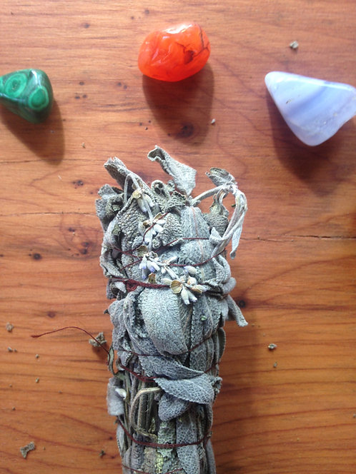 Handcrafted Ceremonial Smudge Stick - Organic Sage and Lavender - Space Clearing