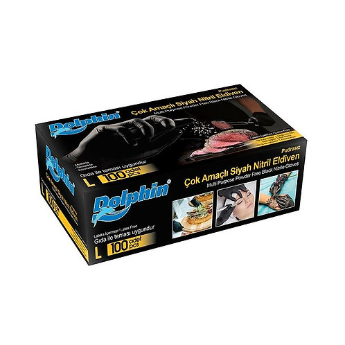 Dolphin Nitril Siyah Eldiven 100'lü Paket