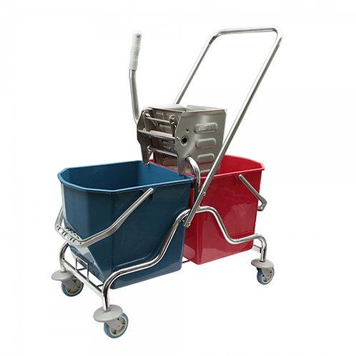 Çift Kovalı Metal Krom Temizlik Arabası