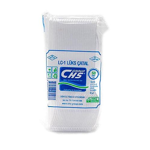 Chs Lüks Şeffaf Plastik Çatal 50'li