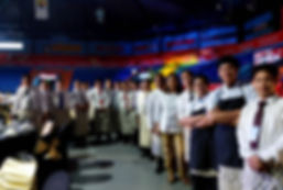 Alfonso's waiters and staff line up before the days event at the FilOil Flyin V Centre