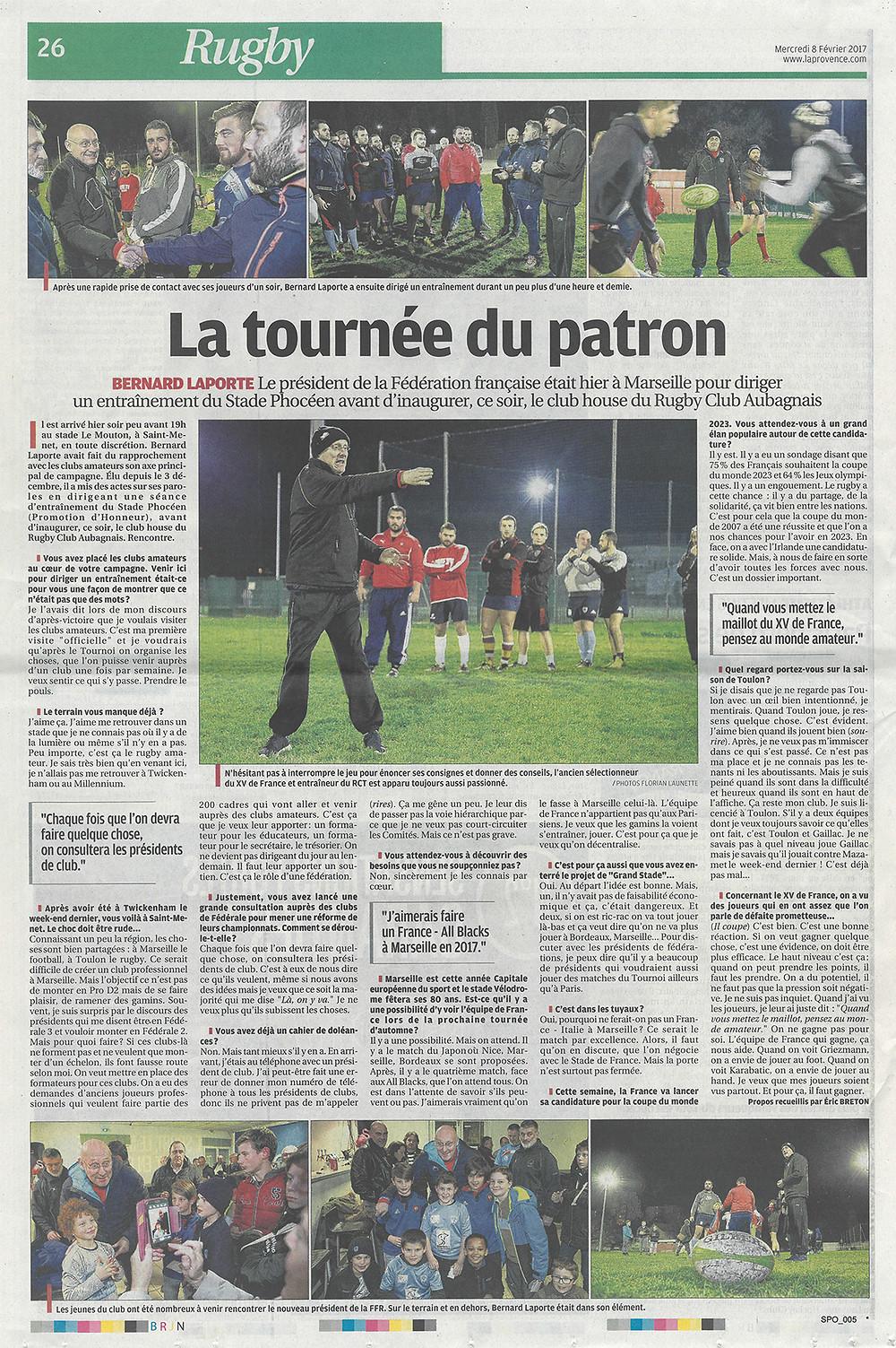 Bernard Laporte , FFR, La Provence - RC STADE PHOCEEN
