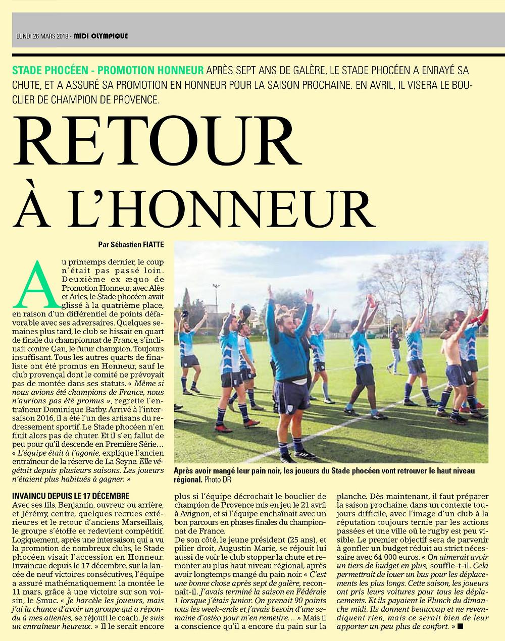 RC Stade Phocenn Retour à l'honneur - Midi-Olympique