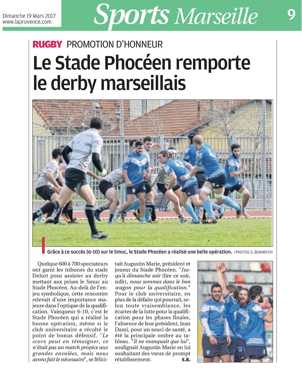 La provence - 19 03 2017 - RC Stade Phoceen
