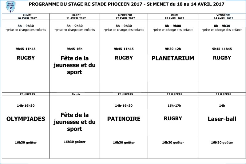 Programme stage avril 2017 - RC Stade Phoceen