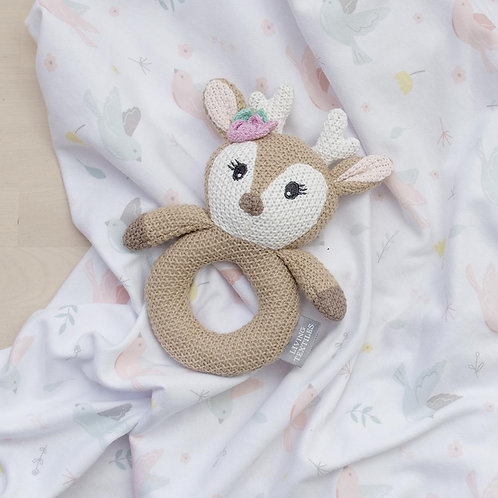 JERSEY SWADDLE & RATTLE GIFT SET - AVA/FAWN
