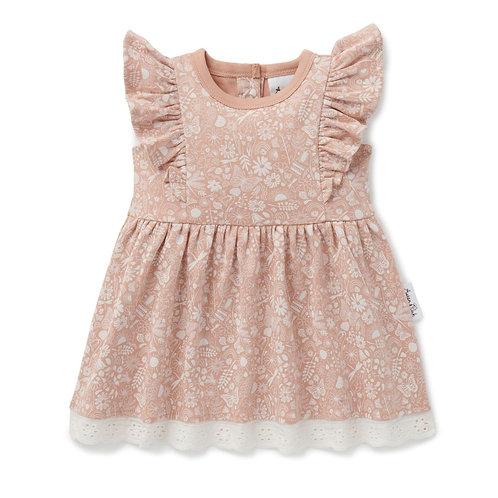 Aster & Oak Organic Cotton - Ditzy Floral Ruffle Dress