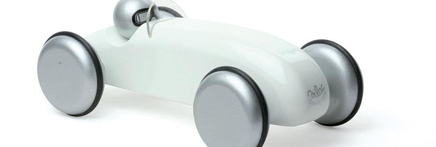 WHITE SPEEDSTER WOODEN TOY CAR