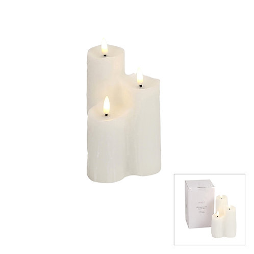 HEAVEN LED WAX CANDLE CLUSTER OF 3 WHITE