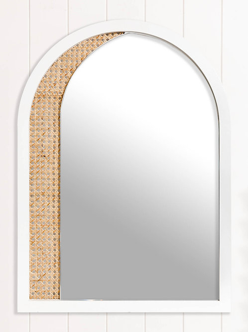 Arch Mirror - White with rattan detail