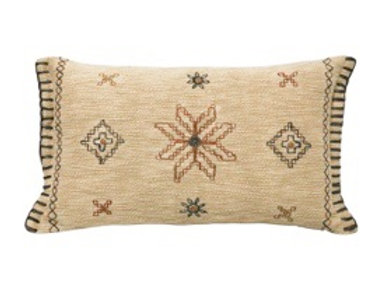 30X50CM MILLI EMBROIDERED CUSHION - BEIGE & NATURAL