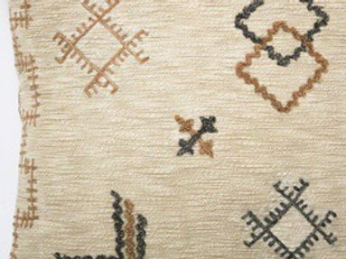 45X45CM MILLI EMBROIDERED CUSHION - BEIGE & NATURAL