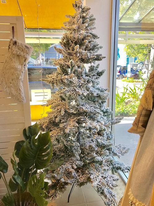FLOCKED PRE LIT PVC PINE SNOW TREE 7FT