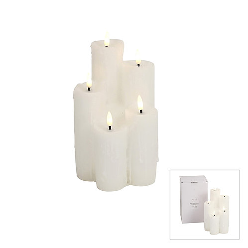 HEAVEN LED WAX CANDLE CLUSTER OF 5 WHITE