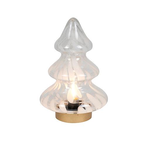 LED GLASS WHITE SILVER TREE LGE