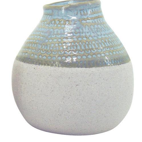 Light Blue Ceramic Vase 11x11.5cm