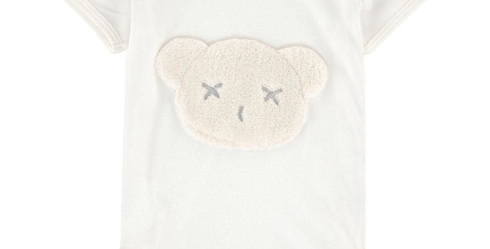 Britt Bear - Snuggles Bear Head Short Sleeve Romper - Milk