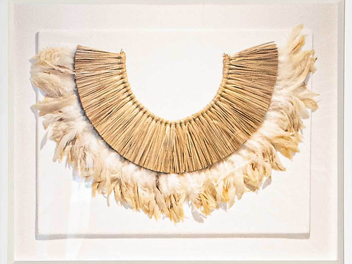 African Feather and Sticks on White Linen Artwork 85 x 67 cm