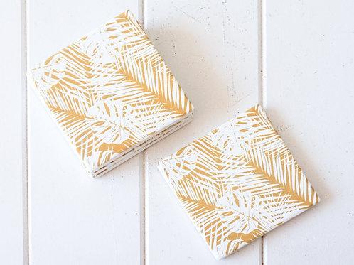 Ceramic Coaster - Mustard Palm Collage - Set 4