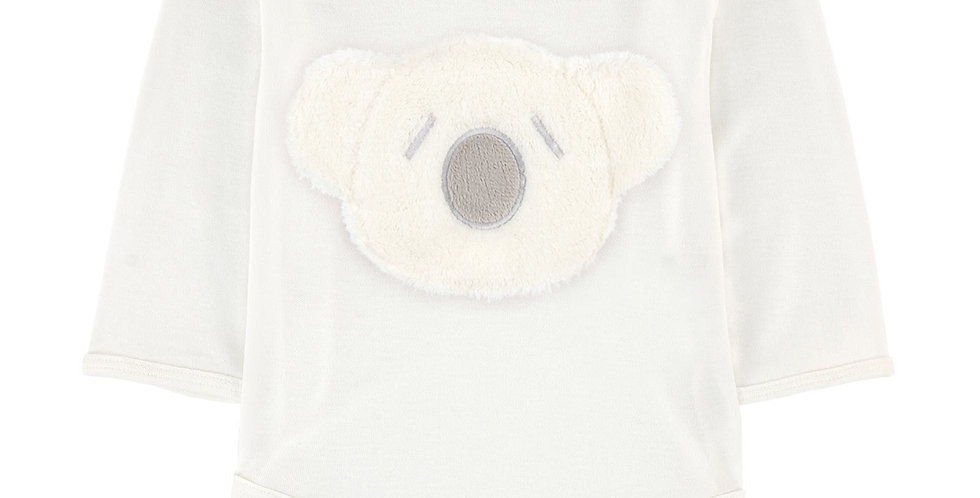 Britt Bear - Snuggles Koala Head Long Sleeve Romper- Milk