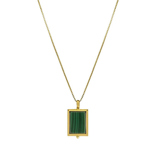 Najo pendant, rectangular malachite in yellow gold