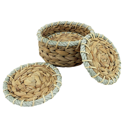 Basket Coasters - Rattan with Rope Boarder - Set of 4