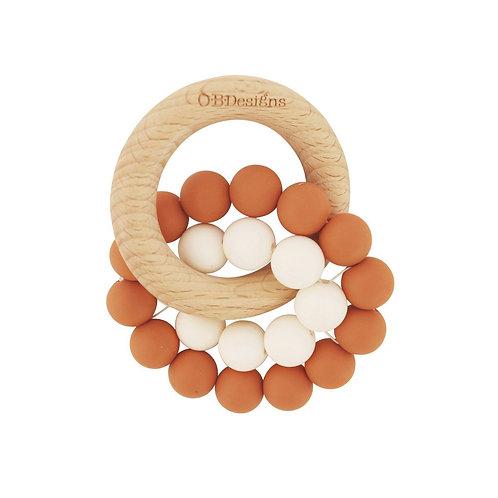 Cinnamon   Eco-Friendly Teether   Organic Beechwood Silicone Toy