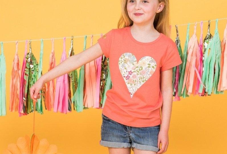 Stella & Gemma Kids Mini Eden T Shirt Coral Floral Heart