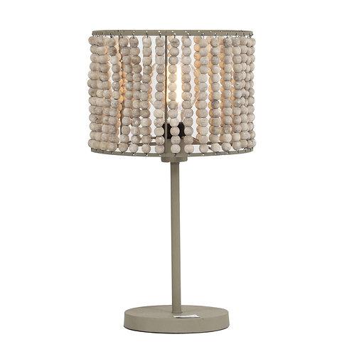 Mina Wooden Bead & Metal Table Lamp
