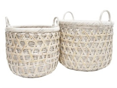LOMILOMI RATTAN BASKET - WHITE WASH