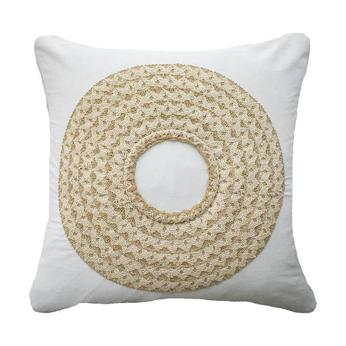 African Badge White Lounge Cushion 50 x 50cm