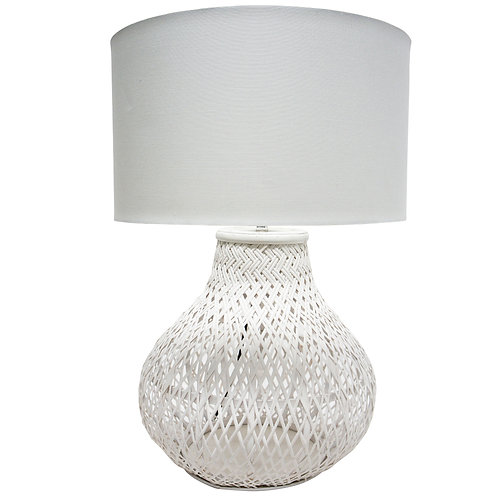 Pina Rattan Table Lamp - White