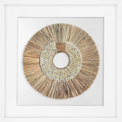 Shell Ring Coffee and Wood Sticks on White 55 x 55cm