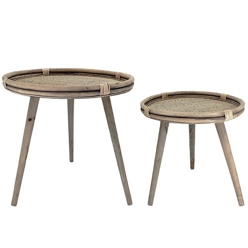 Rattan Side Table Natural Set of two