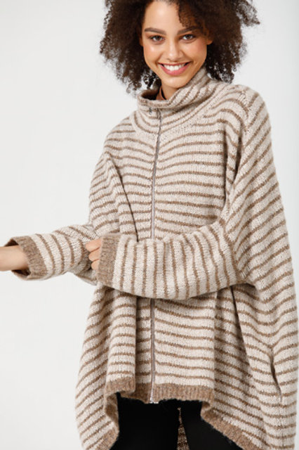 THE BLUFF PONCHO - TAUPE + STONE