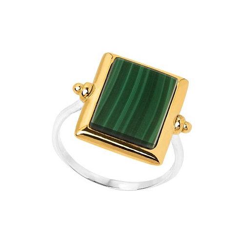 Najo rectangle ring, malachite slice in yell gold
