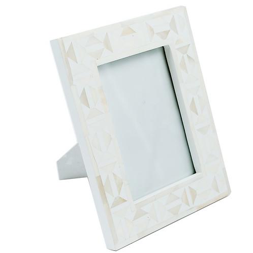 Bone Photo Frame - Diamond - White