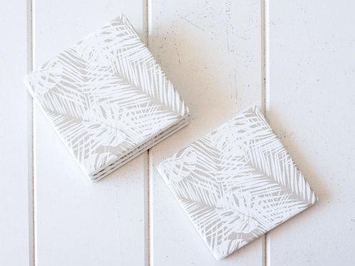 Ceramic Coaster - Natural Palms - Set 4