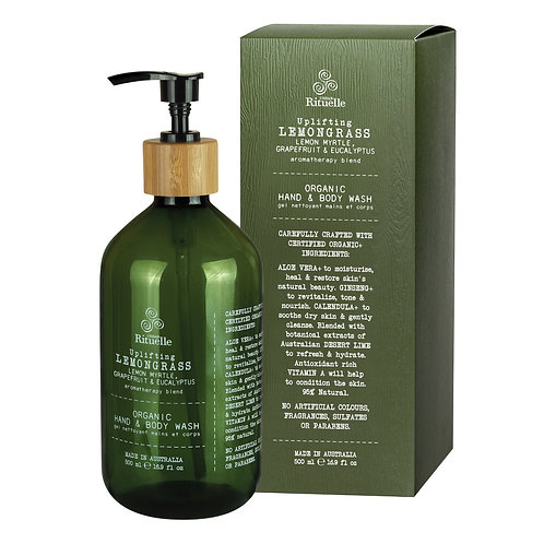 Lemongrass, Lemon Myrtle, Grapefruit & Eucalyptus  Organic Hand & Body Wash