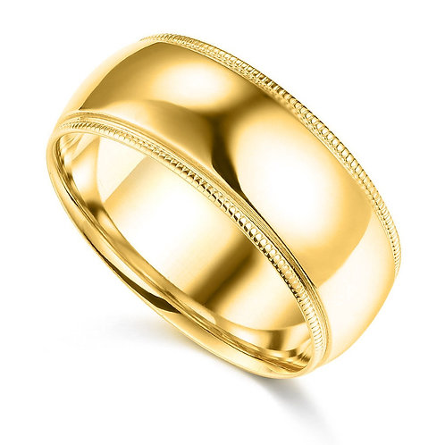14k Yellow Gold 8-mm Standard-fit Milgrain and polished Wedding Band