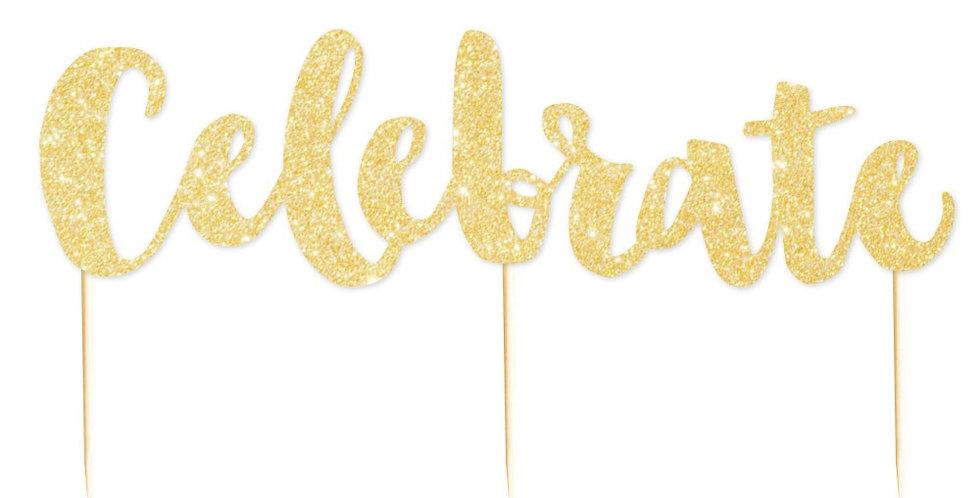 Celebrate Glitter Cake Topper Gold - 1 Pce