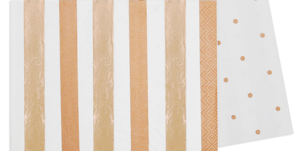 Rose Gold Stripes and Dots Napkin (P20) - ILLUME
