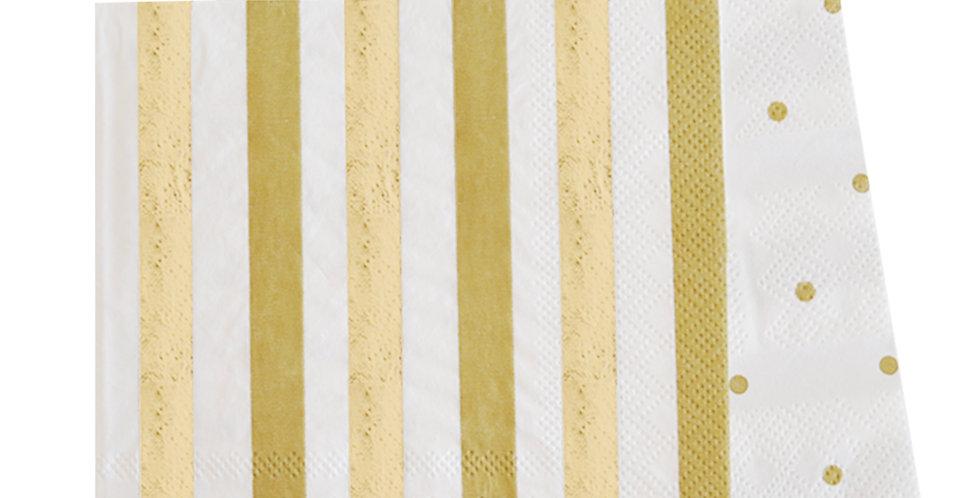 Gold Stripes and Dots Napkin (P20) - ILLUME