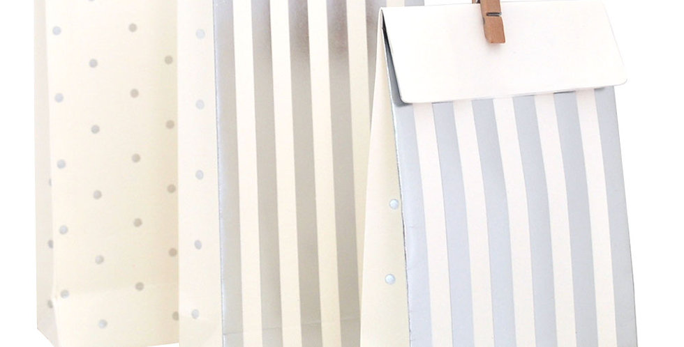 Stripes and Dots Treat Bags  Silver - (P10)