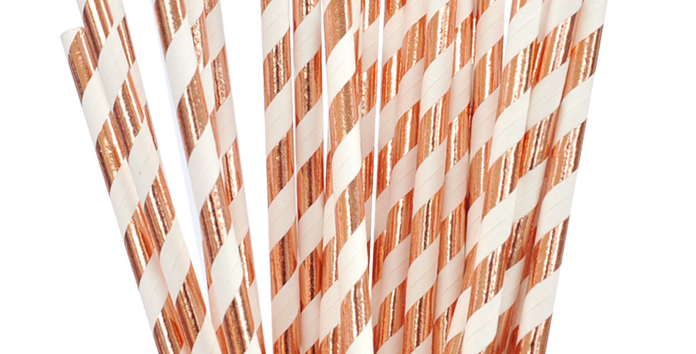 Rose Gold Foiled Striped Paper Straws (P25)