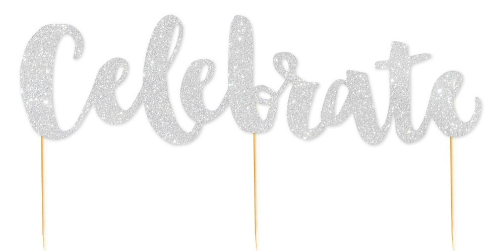 Celebrate Glitter Cake Topper  Silver - 1 Pce